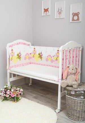 Бортик для детской кровати Сонный Гномик Золушка. Цвет: розовый
