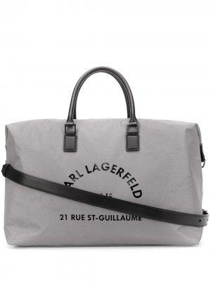 Большая сумка-тоут с принтом Karl Lagerfeld. Цвет: серебристый