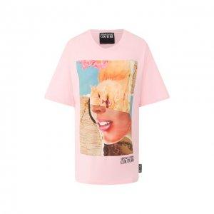 Хлопковая футболка Versace Jeans Couture. Цвет: розовый
