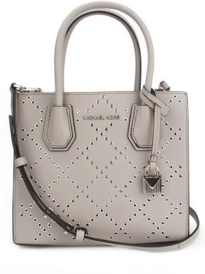 Кожаная сумка MICHAEL KORS. Цвет: серый