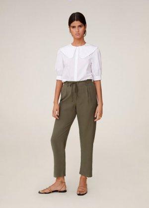 Прямые брюки со шнурком - Bowie Mango. Цвет: хаки
