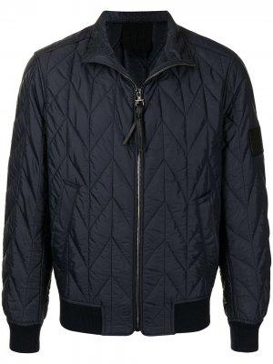 Стеганая куртка на молнии Salvatore Ferragamo. Цвет: синий