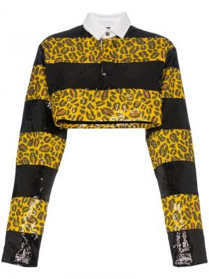 Леопардовая укороченная рубашка с пайетками Charm's. Цвет: желтый