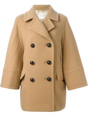 Двубортное пальто Aquilano.Rimondi. Цвет: телесный