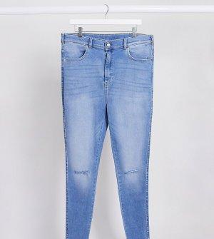 Супероблегающие джинсы с завышенной талией и рваной отделкой на коленях -Синий Dr Denim Plus