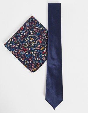 Комплект из платка для нагрудного кармана с принтом «либерти» и однотонного галстука -Темно-синий Gianni Feraud