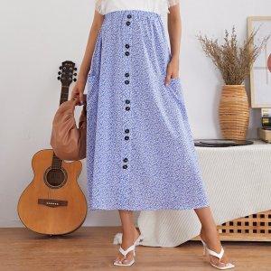 С карманами цветочный Бохо Юбки для беременных SHEIN. Цвет: синий и белый