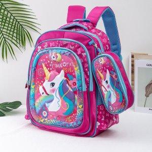 Рюкзак с узором единорога и пеналом для девочек SHEIN. Цвет: ярко-розовый