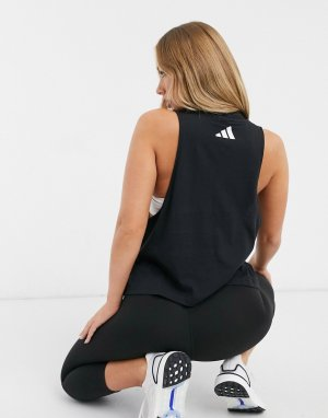 Черная майка с высоким воротником adidas Training-Черный performance