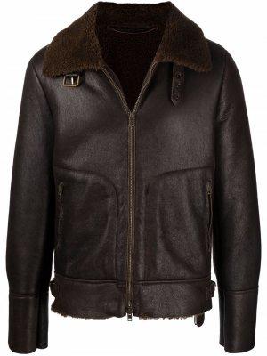 Куртка с воротником из овчины Salvatore Santoro. Цвет: коричневый