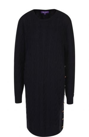 Вязаное кашемировое платье с круглым вырезом Ralph Lauren. Цвет: синий