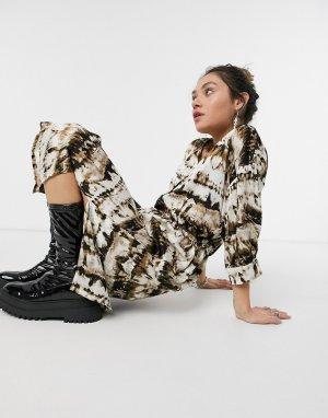 Платье миди в стиле oversized с цифровым принтом -Мульти Kaffe