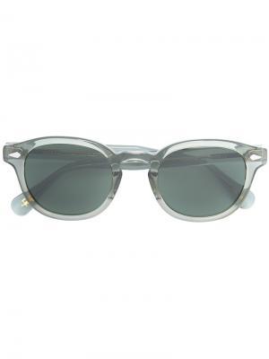 Солнцезащитные очки круглой формы Moscot. Цвет: зелёный