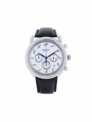 Наручные часы Chronograph pre-owned 43 мм 2000-х годов Hermès. Цвет: белый