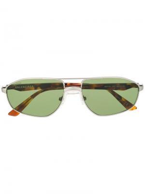 Массивные солнцезащитные очки Balenciaga Eyewear. Цвет: серебристый