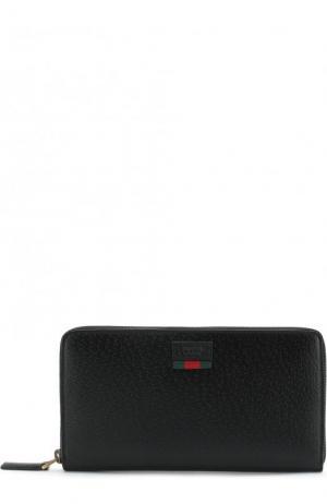 Кожаный футляр для документов на молнии Gucci. Цвет: черный