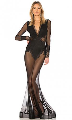 Платье макси из прозрачного кружева martin Michael Costello. Цвет: черный