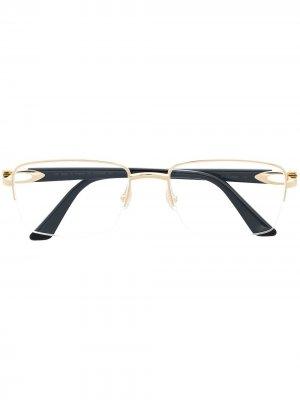 Очки в безободковой квадратной оправе Cartier Eyewear. Цвет: черный