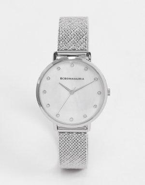 Часы с серебристым сетчатым ремешком BCBG Max Azria-Серебристый MaxAzria