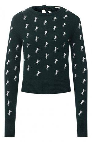 Шерстяной пуловер Chloé. Цвет: зеленый