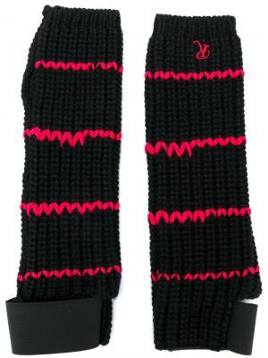 Вязаные перчатки с контрастной отделкой Raf Simons