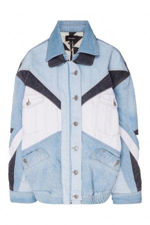 Комбинированная джинсовая куртка Isabel Marant. Цвет: голубой