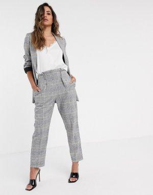 Светлые брюки в клетку -Серый Closet London
