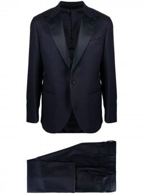 Костюм-двойка с однобортным пиджаком LUIGI BIANCHI MANTOVA. Цвет: синий