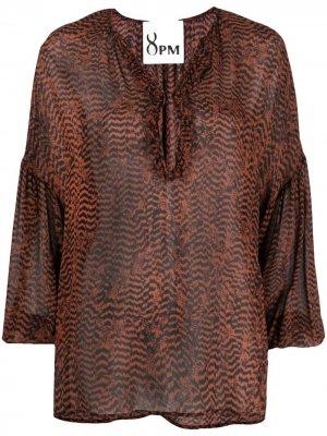 Блузка с приспущенными плечами 8pm. Цвет: черный
