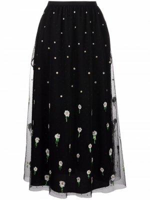 Embroidered-design high-waisted skirt RED Valentino. Цвет: черный
