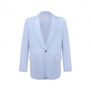 Хлопковый пиджак Dries Van Noten. Цвет: голубой