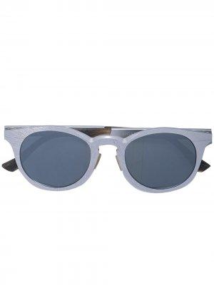 Солнцезащитные очки в круглой оправе Rigards. Цвет: серебристый