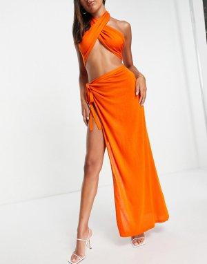 Оранжевая легкая пляжная юбка макси из трикотажа с разрезом (от комплекта) -Оранжевый цвет ASOS DESIGN