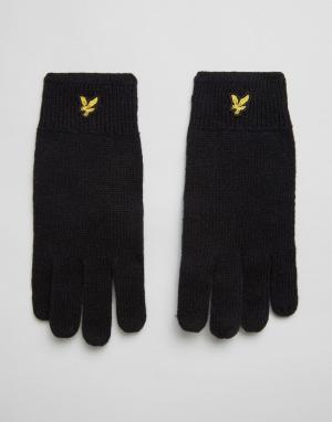 Черные перчатки из овечьей шерсти с логотипом Lyle & Scott. Цвет: черный