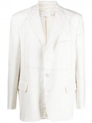 Однобортный пиджак с декоративной строчкой Maison Margiela. Цвет: белый