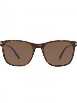 Солнцезащитные очки в квадратной оправе Bulgari. Цвет: коричневый