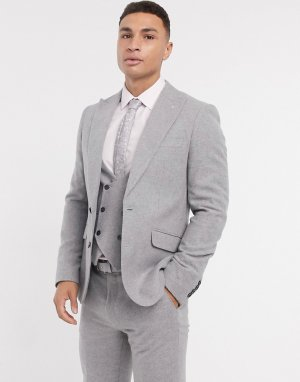 Узкий серый фланелевый пиджак Gianni Feraud