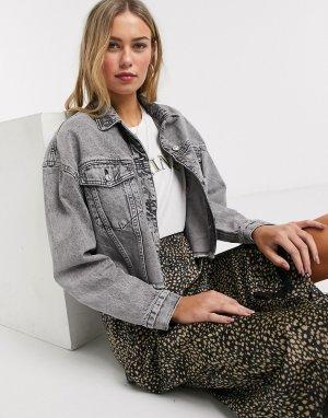 Серая джинсовая куртка с необработанным краем -Серый Pimkie