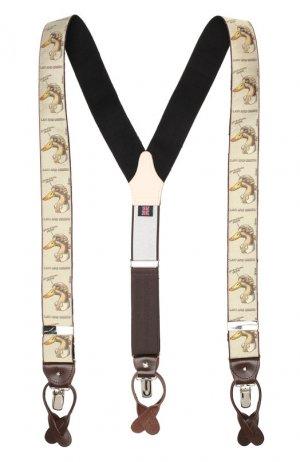 Шелковые подтяжки с кожаной отделкой Albert Thurston. Цвет: бежевый