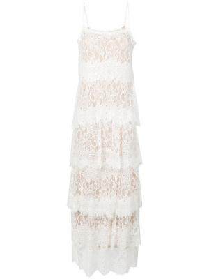 Многослойное платье с кружевными вставками Aniye By. Цвет: белый
