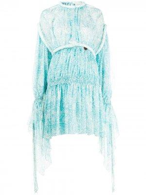 Платье со сборками LANVIN. Цвет: синий