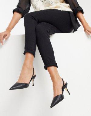 Черные туфли на каблуке с острым носком и эффектом змеиной кожи -Черный Dune