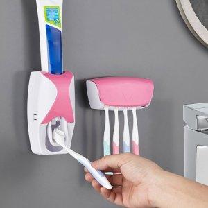 2шт настенная соковыжималка для зубной пасты и держатель зубных щеток SHEIN. Цвет: розовые