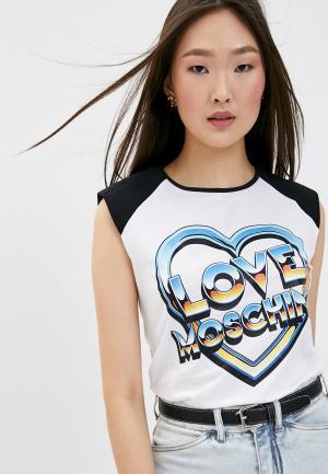 Майка Love Moschino. Цвет: белый