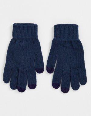 Темно-синие перчатки с отделкой для сенсорных устройств -Темно-синий SVNX