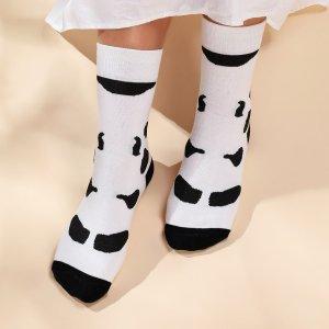 Двухцветные носки до середины голени SHEIN. Цвет: черный и белый