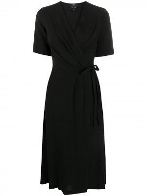 Платье Mathilda с эффектом запаха A.P.C.. Цвет: черный