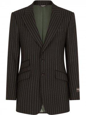 Однобортный пиджак в тонкую полоску Dolce & Gabbana. Цвет: черный
