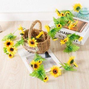 Украшение искусственного цветка и подсолнуха 2.4м SHEIN. Цвет: жёлтые