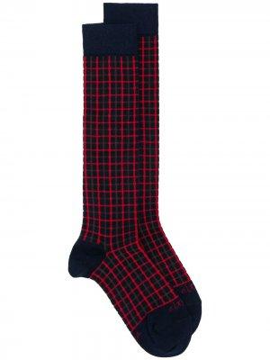 Высокие носки в клетку Altea. Цвет: синий